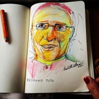 Pensel drawing 'Desmond Tutu'