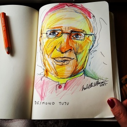 Pensel drawing 'Desmond Tutu'